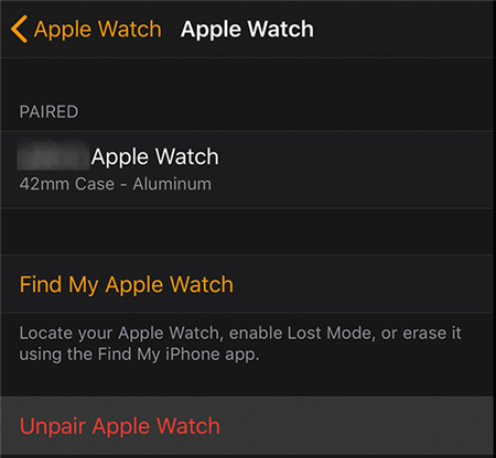 Remove Apple Watch from the iPhone