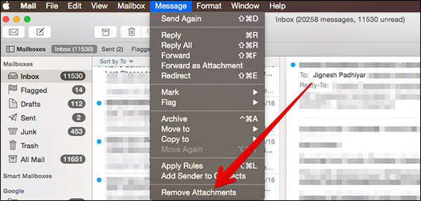 How to Remove Attachments from Single Mail