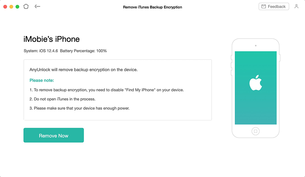 Start Removing the iTunes Backup Encryption