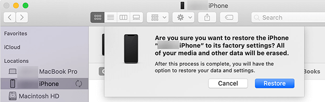 Confirm the Restore Prompt
