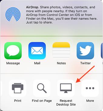 Request Desktop Site in Safari on iOS 9 Devices