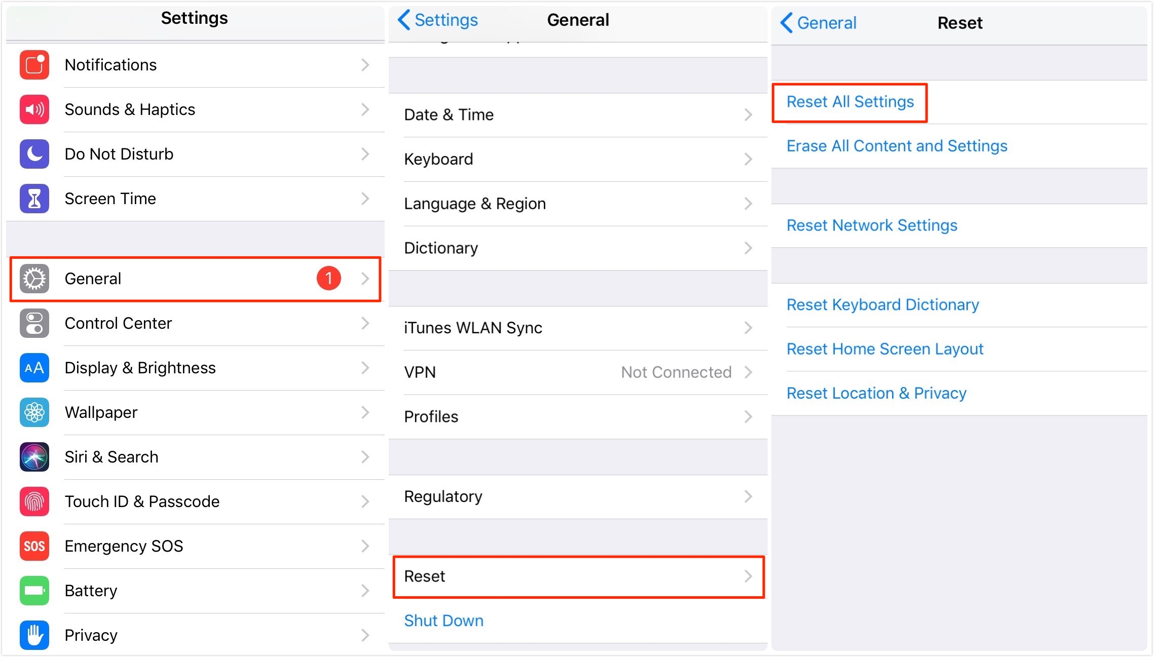 Reset All Settings on iPhone/iPad