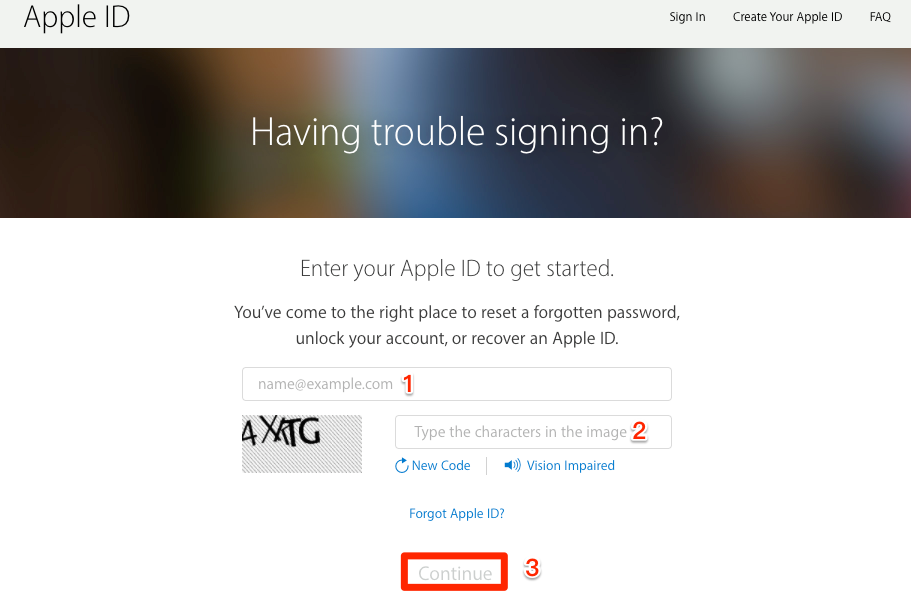 Reset iCloud Password via My Apple ID – Step 1