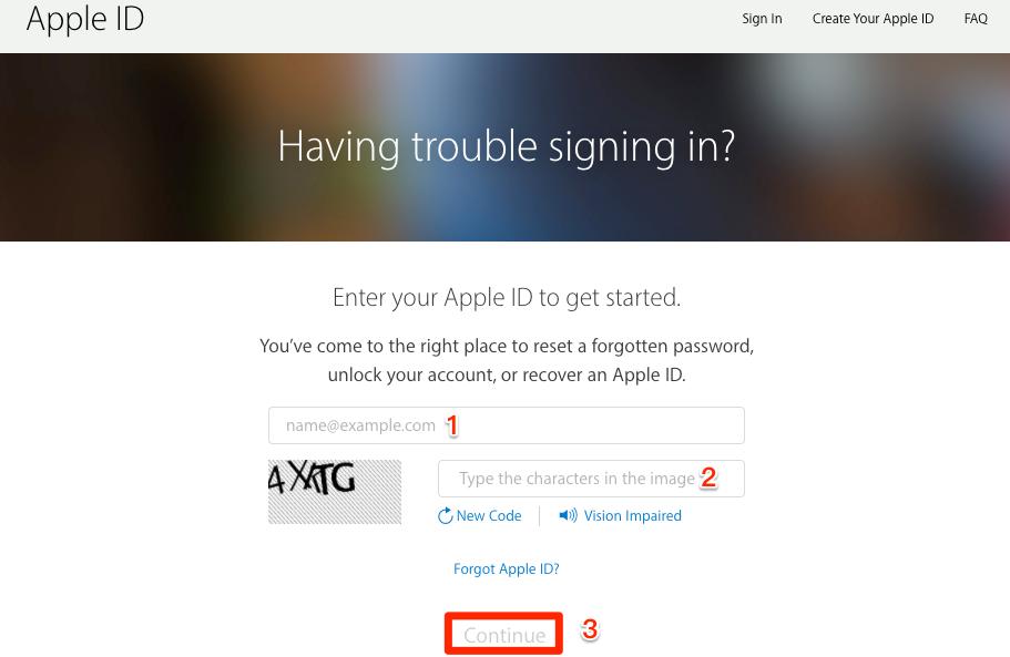 icloud reset password