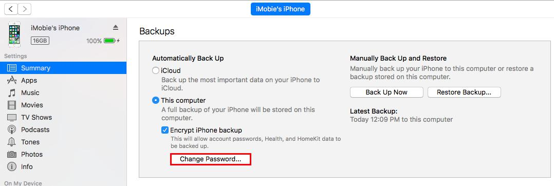 How to Reset iPhone Backup Password - Step 1