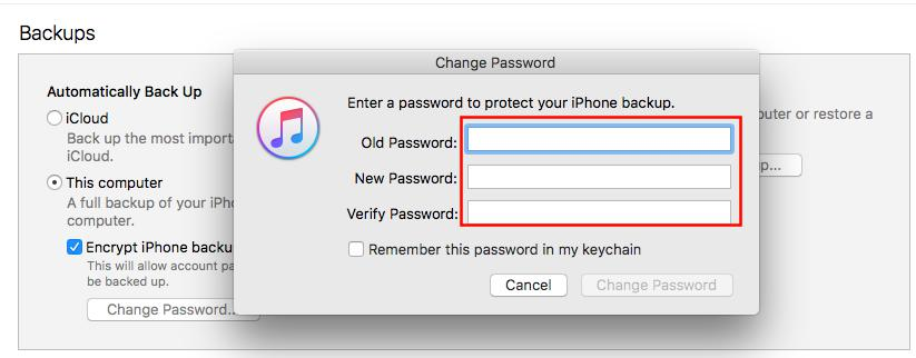 How to Reset iPhone Backup Password - Step 2