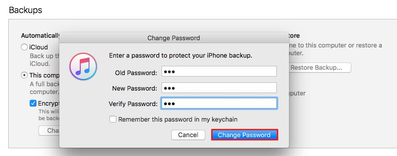 forgot old iphone backup password