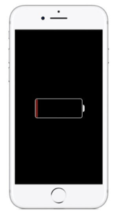 Screen showing proper charging on iPhone.