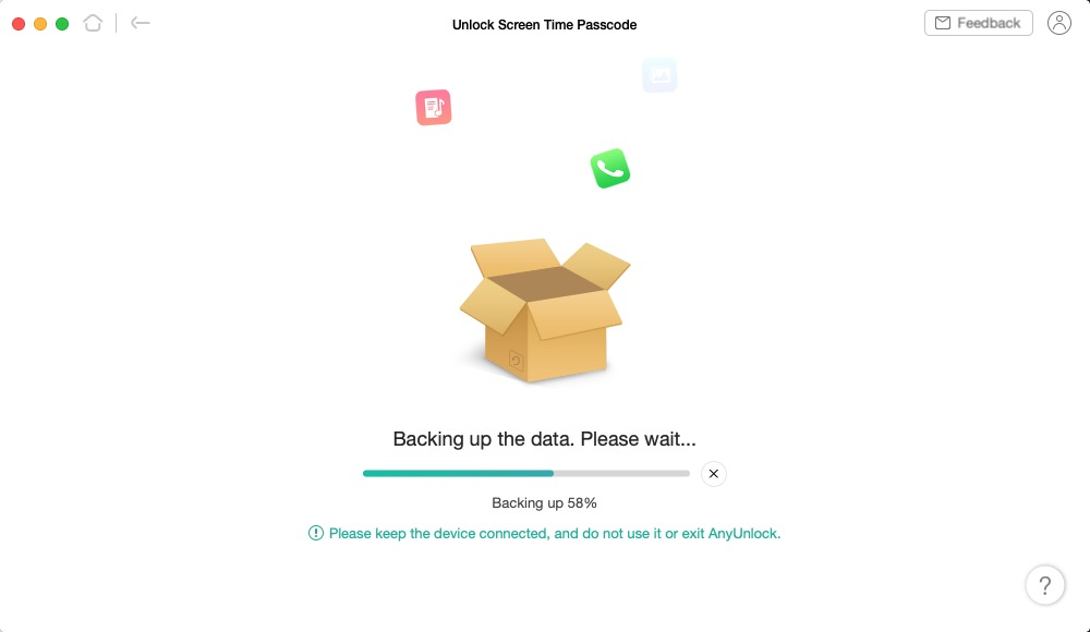 Backing up the iPhone Data with AnyUnlock