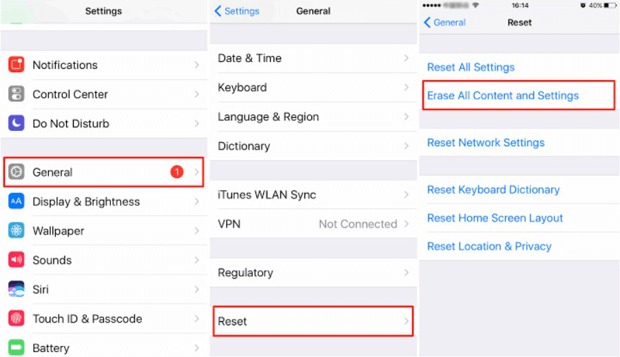 Restore iPhone Using Erase All Contents
