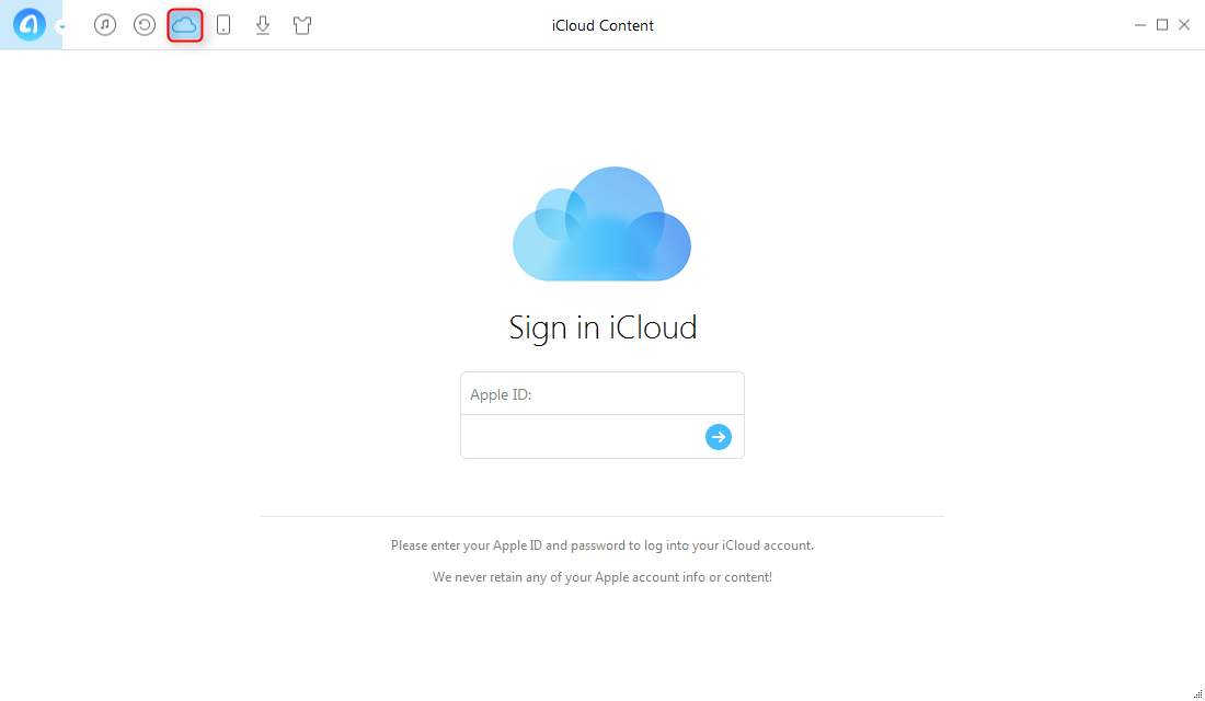 How to Access iCloud with AnyTrans – Step 2