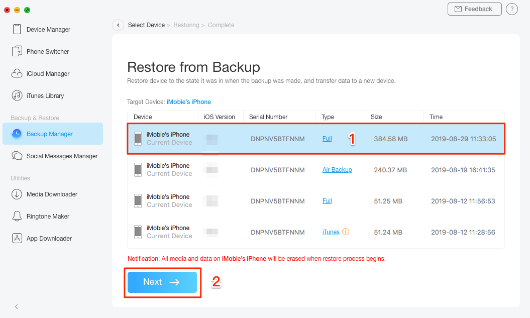 Restore Data to iPhone with AnyTrans - Step 2