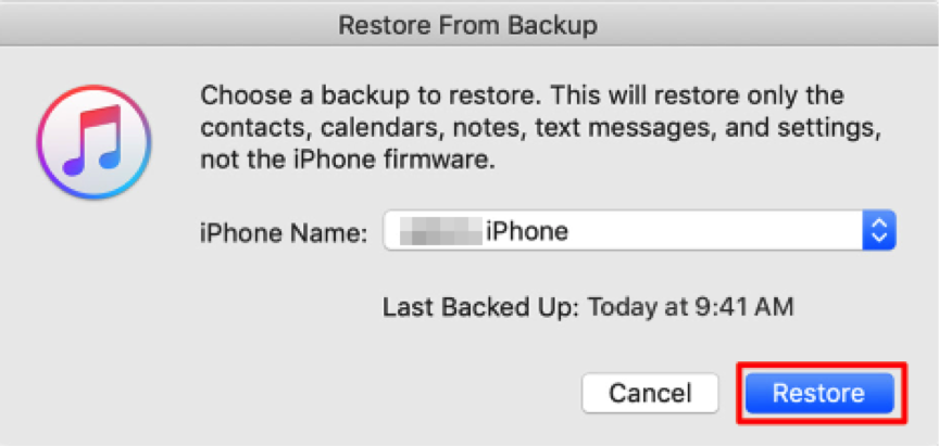 How to Restore Calendar on iPhone with iTunes - Step 3