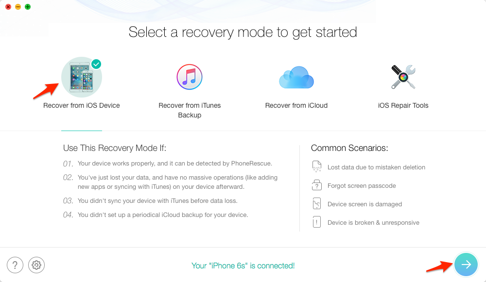 How to Restore Calendar on iPhone with PhoneRescue – Step 1