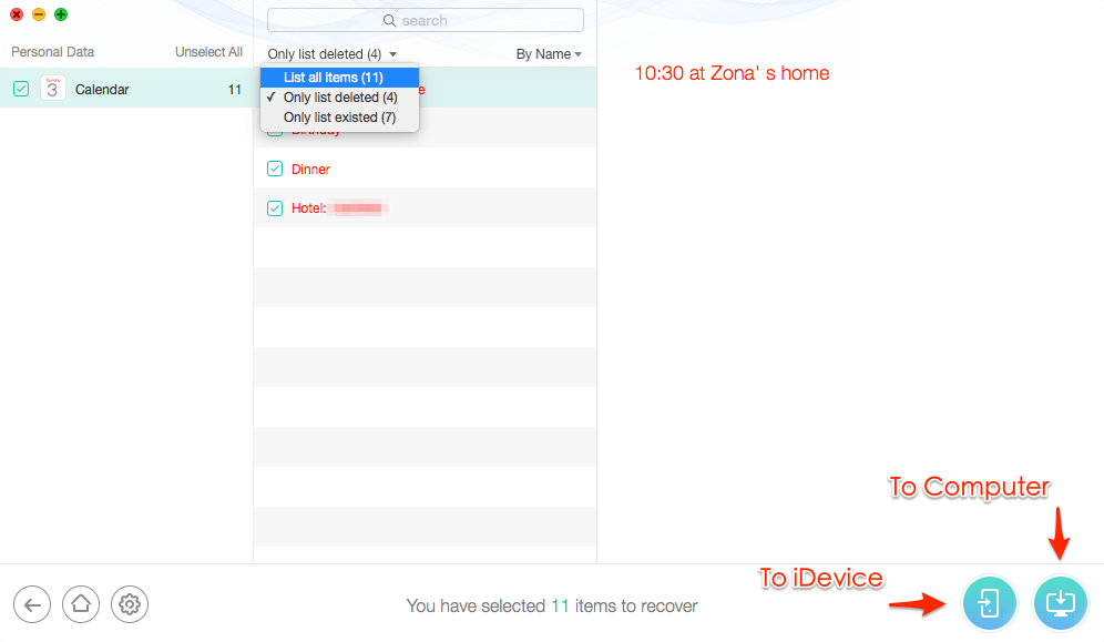 How to Retrieve Deleted Calendar Events on iPhone with PhoneRescue – Step 3