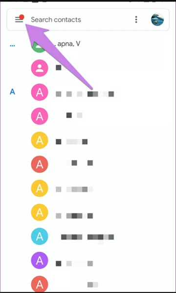 Open Google Contacts and Tap on Menu Icon