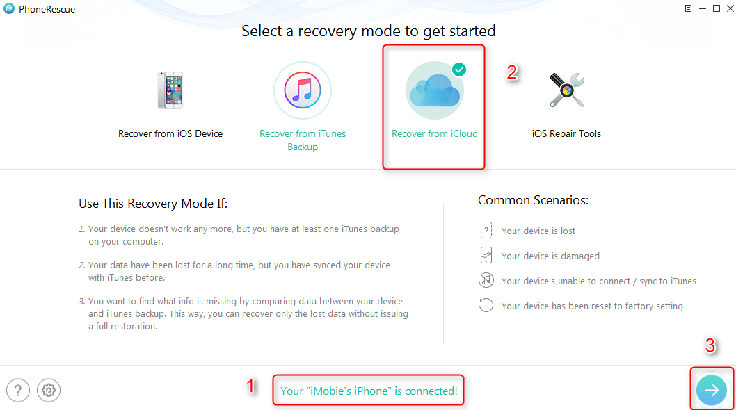 How to Restore Contacts from iCloud with PhoneRescue – Step 1