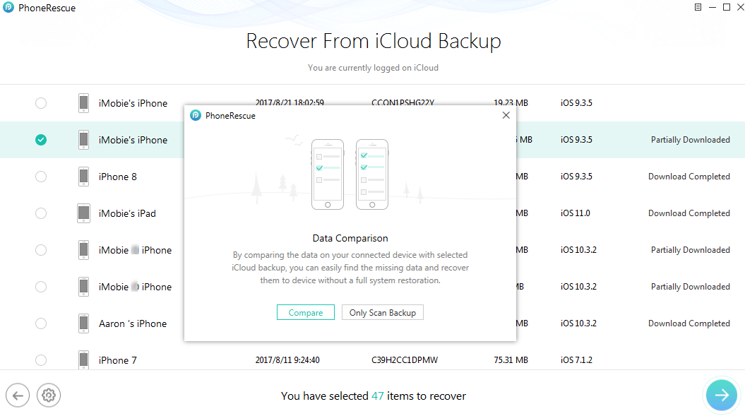 How to Restore Contacts from iCloud with PhoneRescue – Step 3