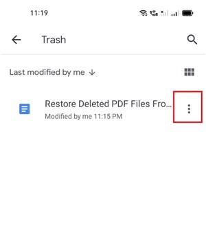 Choose the Files in Google Drive Trash Bin