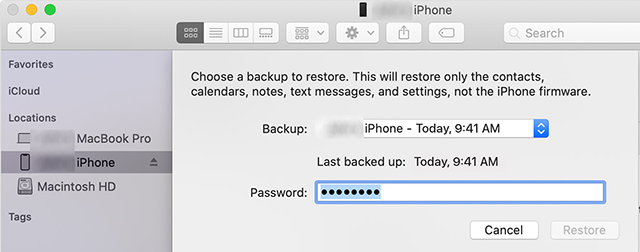 Choose the iPhone Backup to Be Restored on iPad