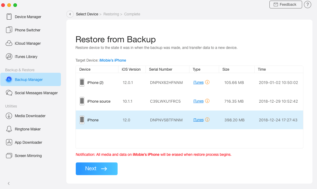 Select the Backup to Restore on iPad