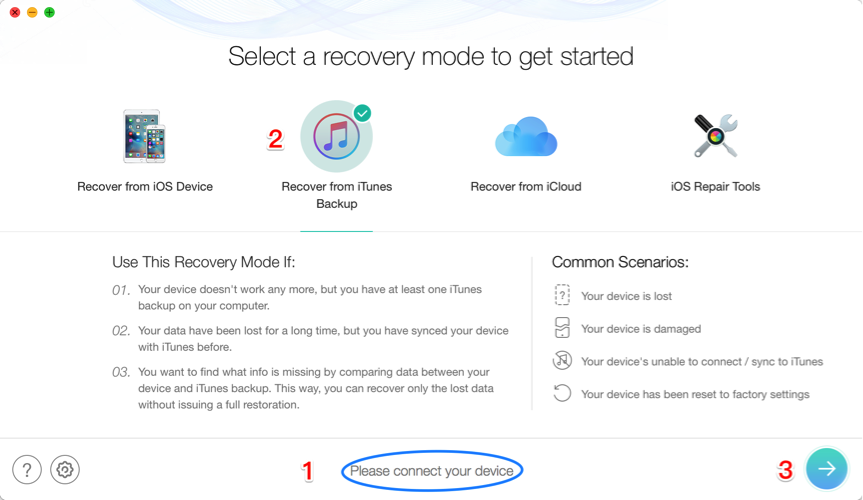 Restore iPad from iTunes Backup without Erasing Data – Step 2