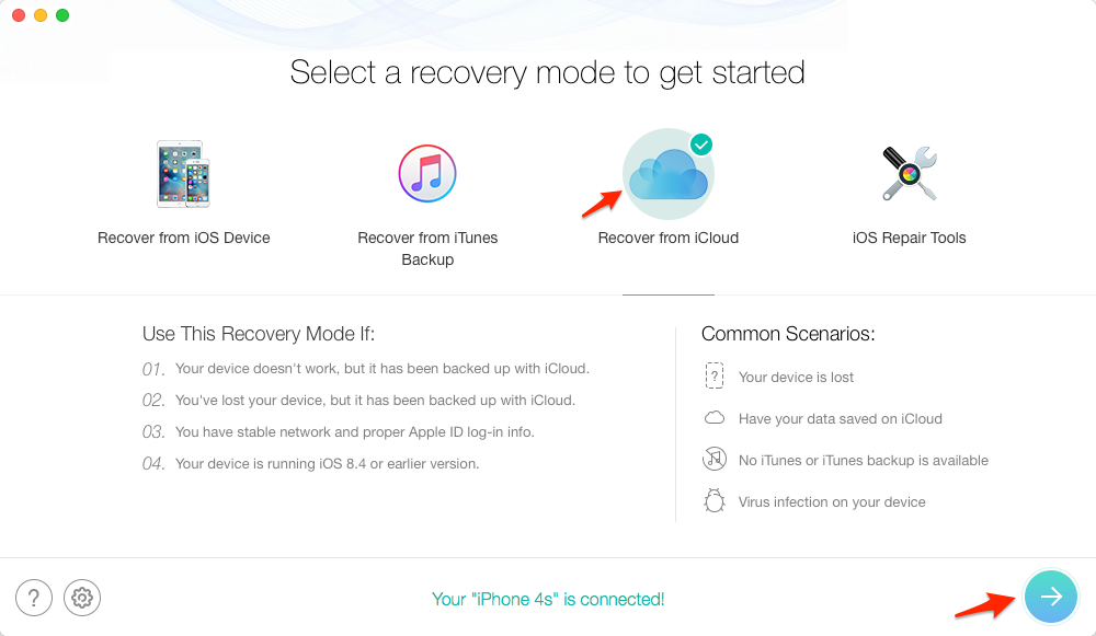 Restore iPhone from iCloud without Resetting – Step 1