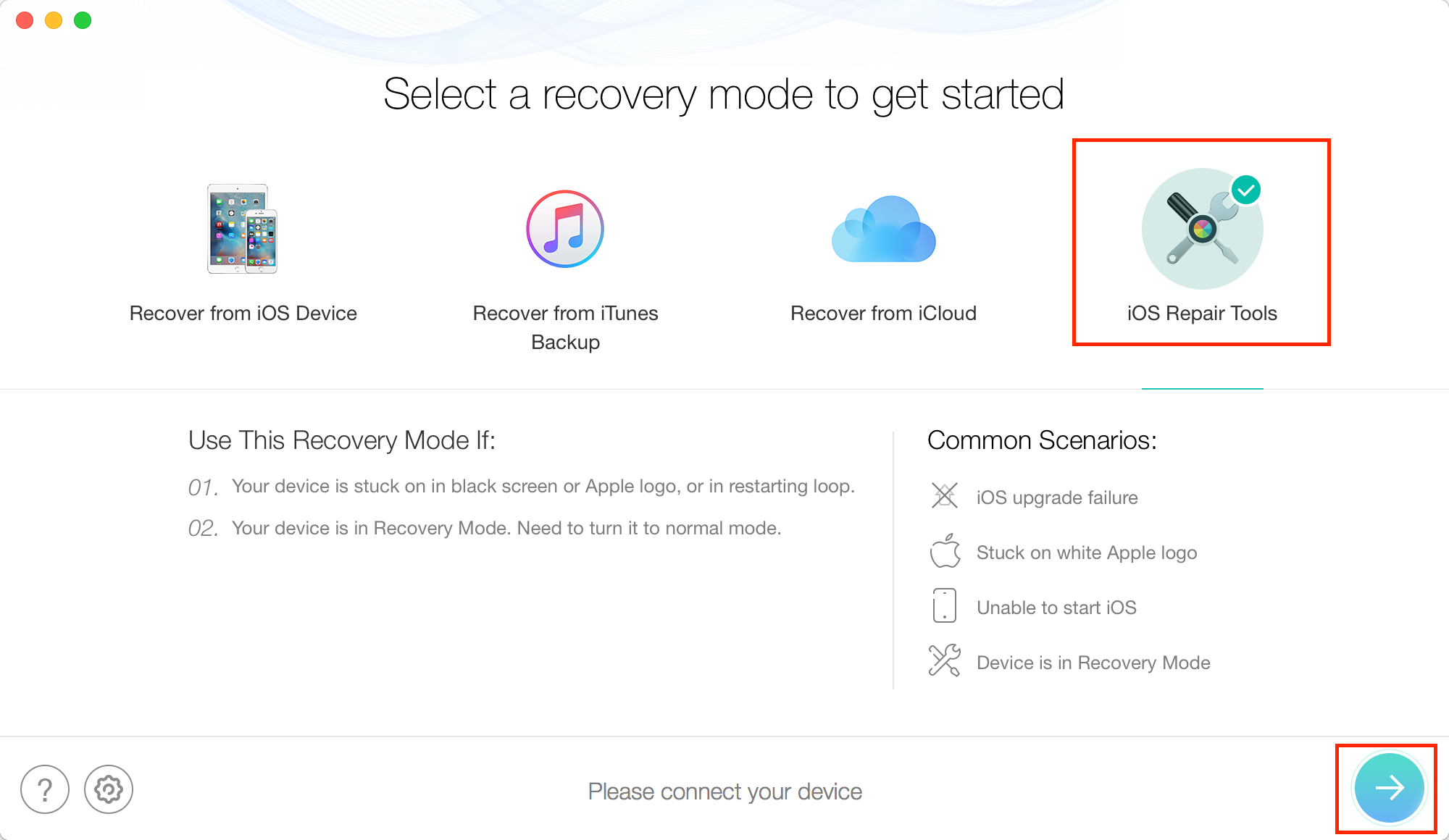 Restore iPhone in Recovery Mode Without iTune - Step 1
