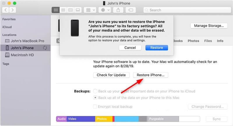 Restore iPhone Photos with Finder