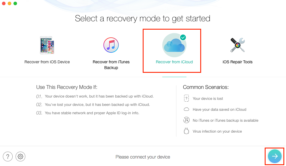 How to Only Restore Wanted Photos from iCloud Backup - Step 1