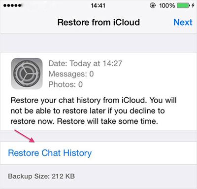 Restore from iCloud