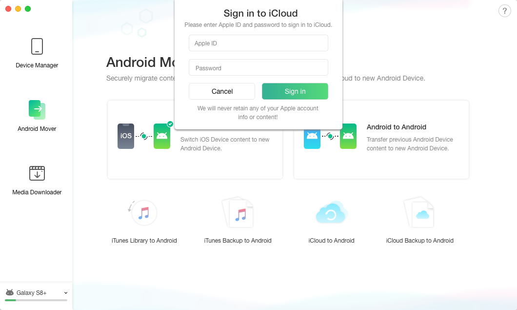 Log in Apple ID via AnyTrans for Android