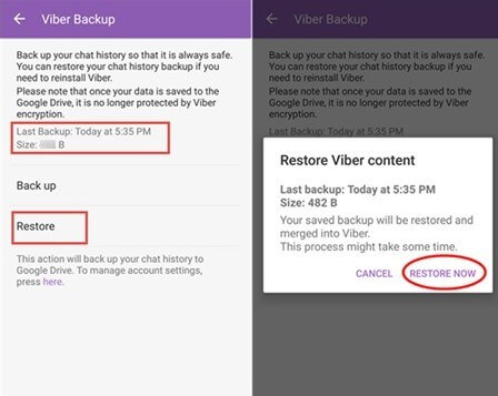 Restore Viber Messages on Android via Settings