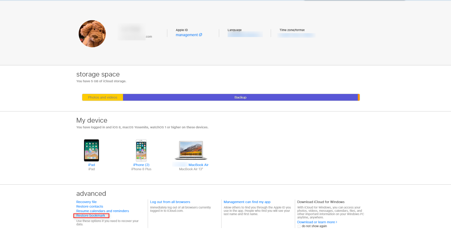 How to Retrieve Bookmarks on iPad from iCloud.com - Step 2