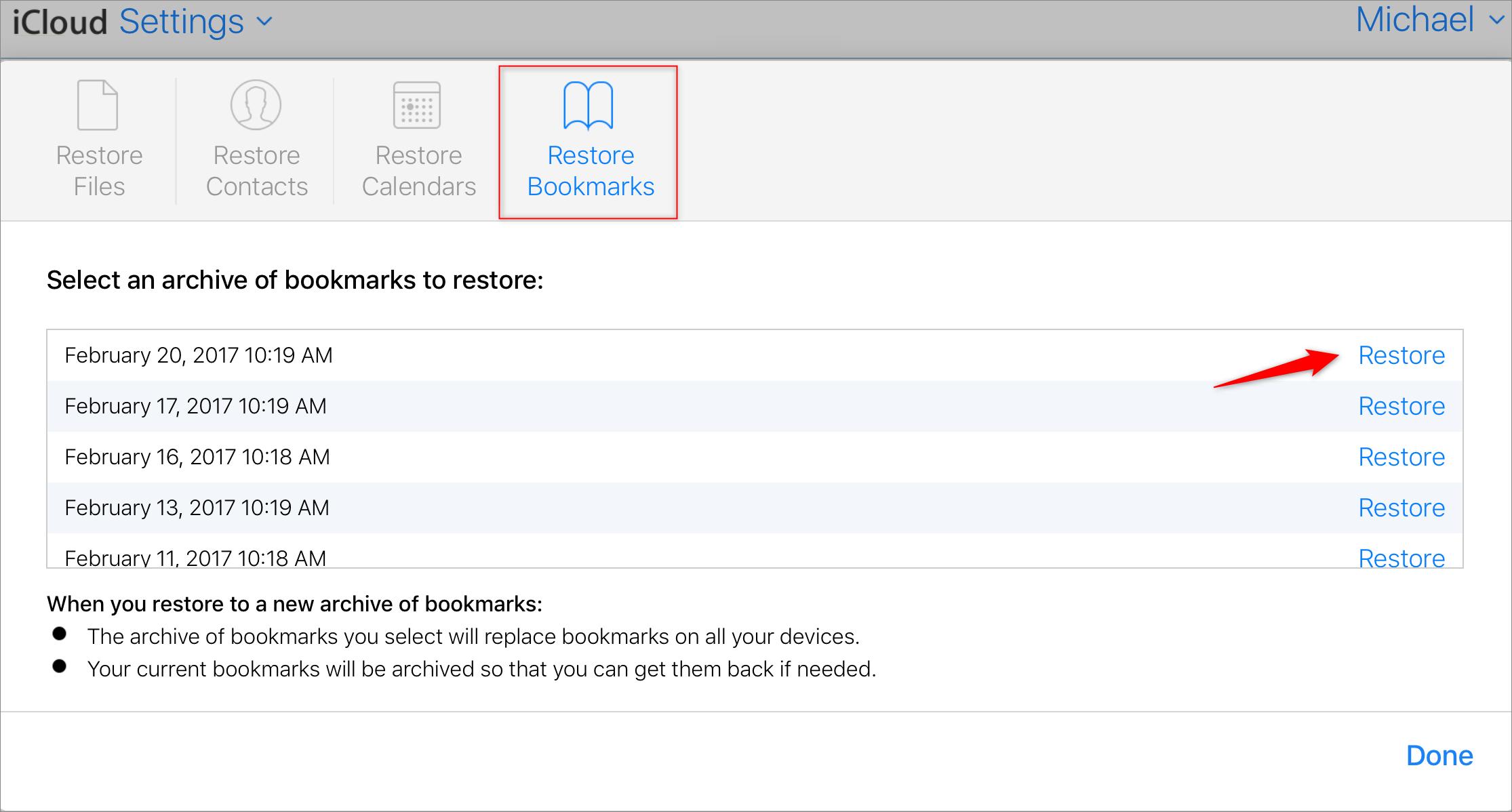 How to Retrieve Bookmarks on iPad from iCloud.com - Step 3