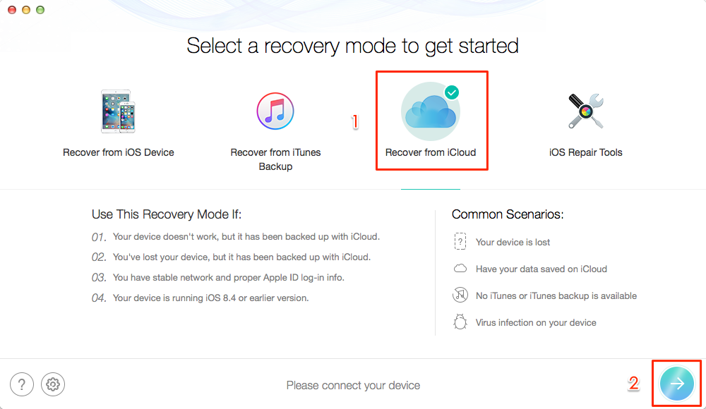 How to Retrieve Contacts from iCloud Backup – Step 1