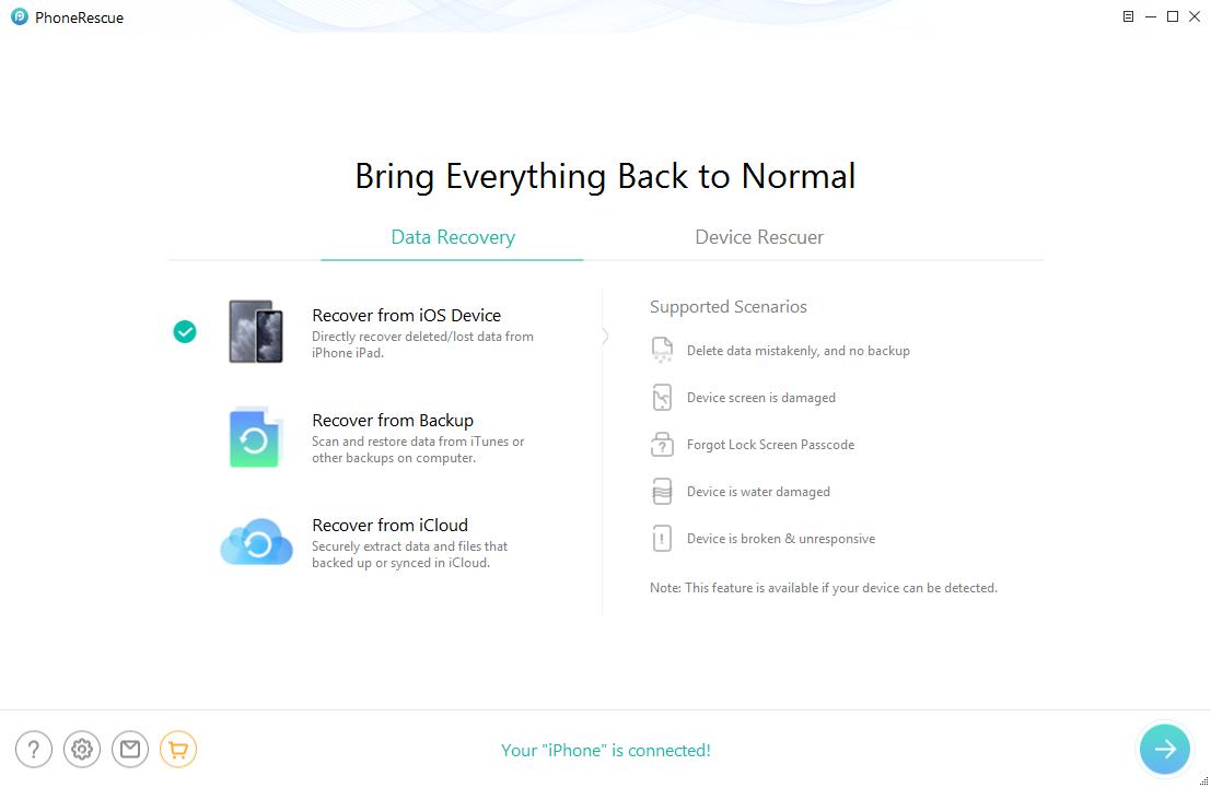 Retrieve Data from Broken iPhone via PhoneRescue for iOS