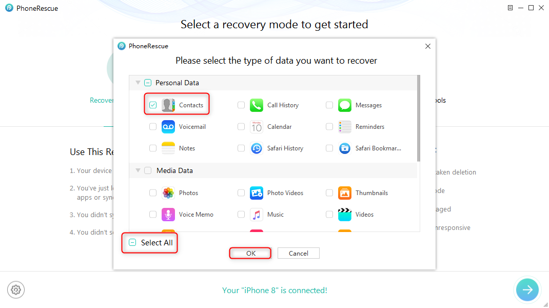 Retrieve Deleted Contacts on iPhone 5/5s/5c – Step 2