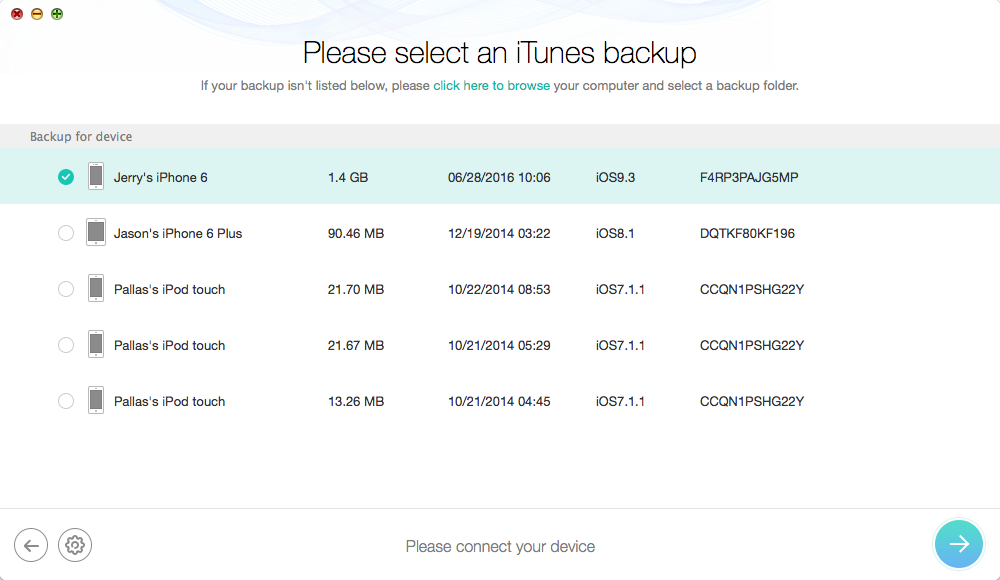 How to Extract Lost Notes from iPhone Backup – Step 1