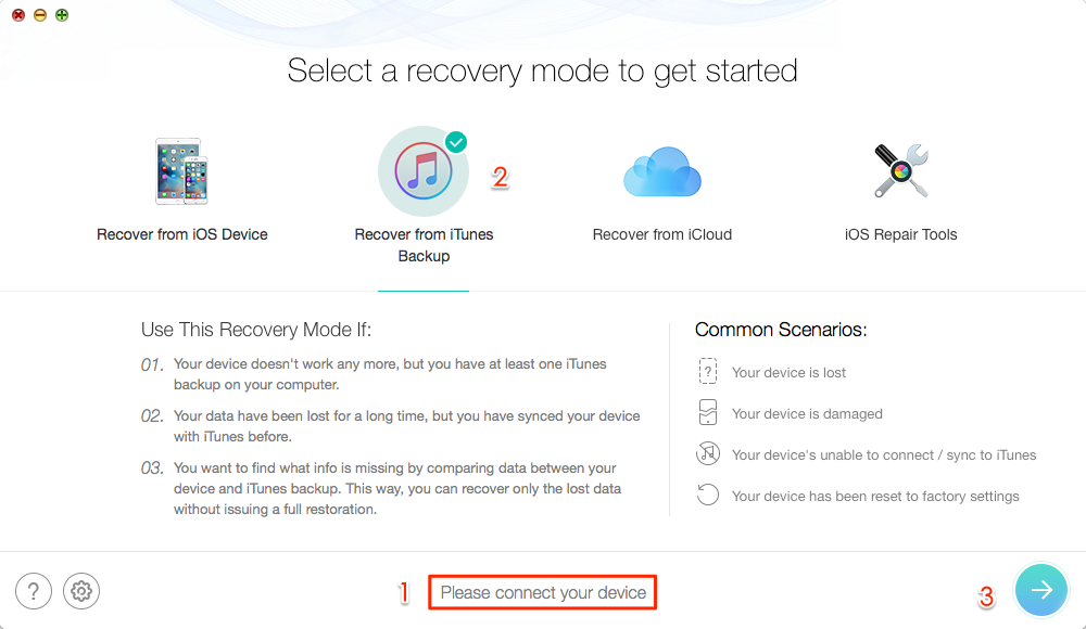 Retrieve Deleted Messages from iPad Air/Air 2 and iPad mini 2/3/4 via iTunes Backup – Step 1