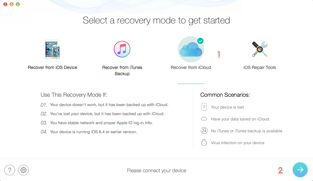 Retrieve Deleted Messages from iPad Air/Air 2 and iPad mini 2/3/4 via iCloud– Step 1