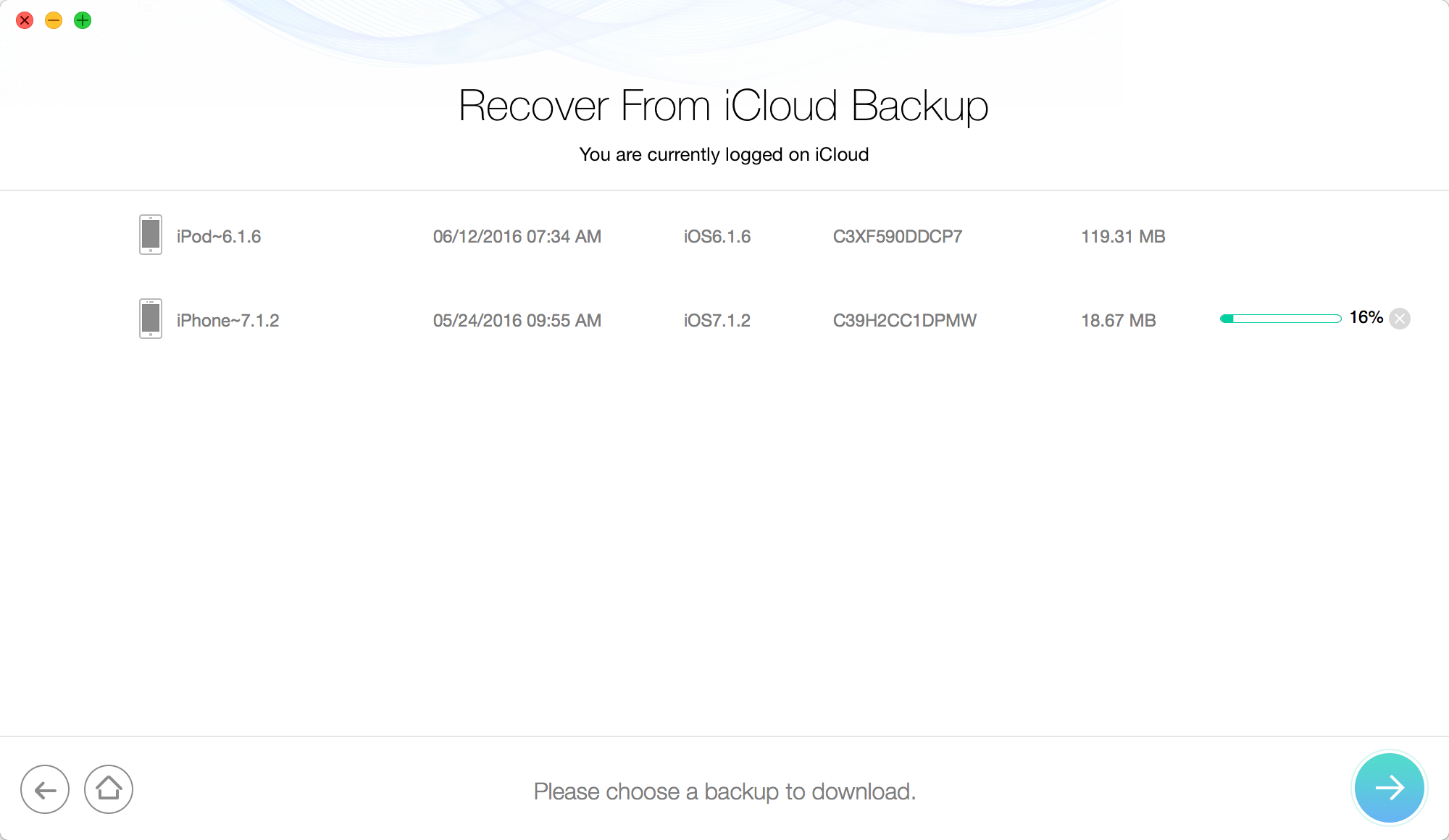 Retrieve Deleted Messages from iPad Air/Air 2 and iPad mini 2/3/4 via iCloud– Step 2