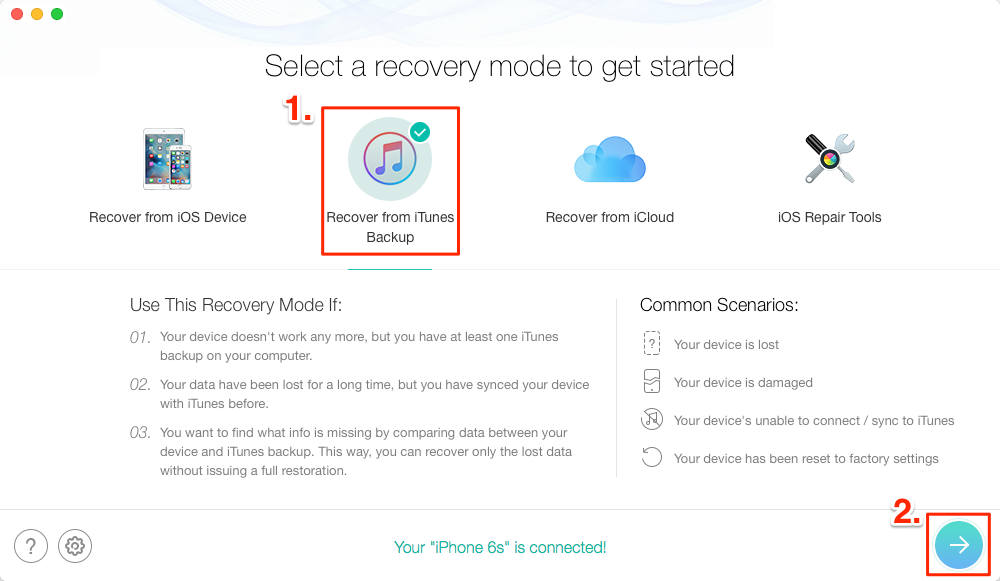 Recover Deleted Text Messages from iTunes Backup with PhoneRescue – Step 2