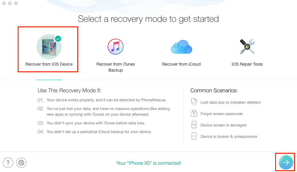 Recover Deleted Text Messages from iPhone XS without Backup - Step 1