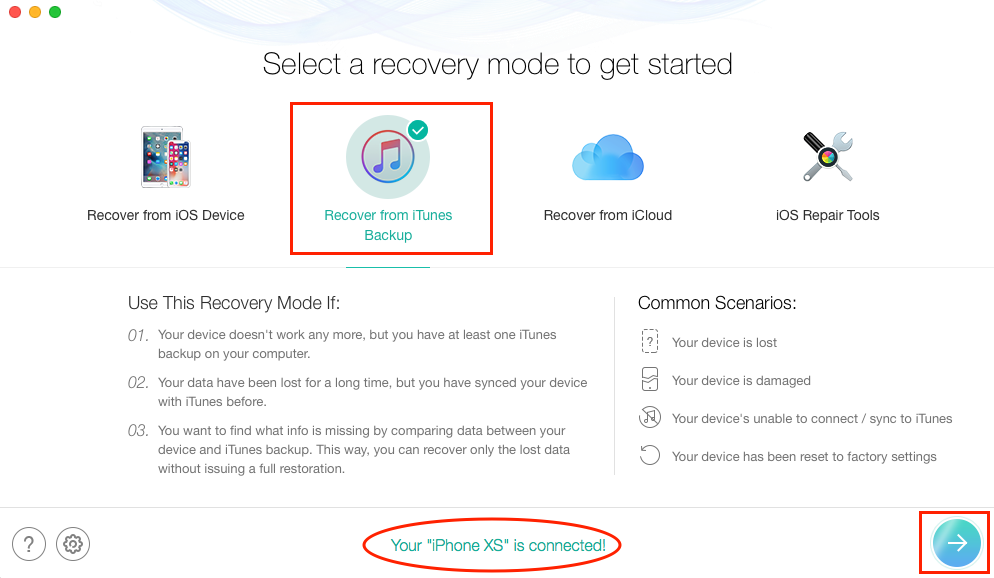 Retrieve Wanted Deleted Texts on iPhone XS from iTunes Backup - Step 2