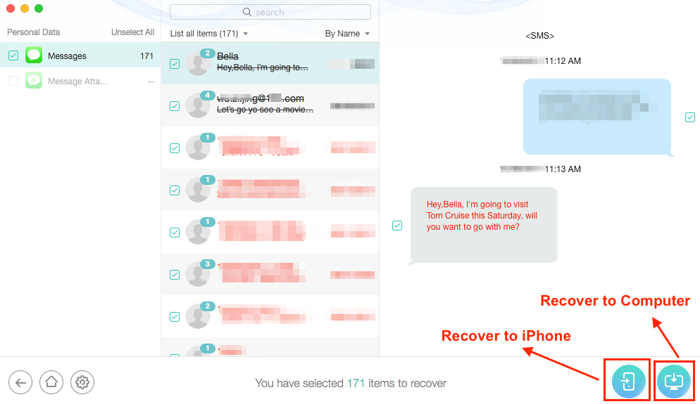 Retrieve Wanted Deleted Texts on iPhone XS from iTunes Backup - Step 4