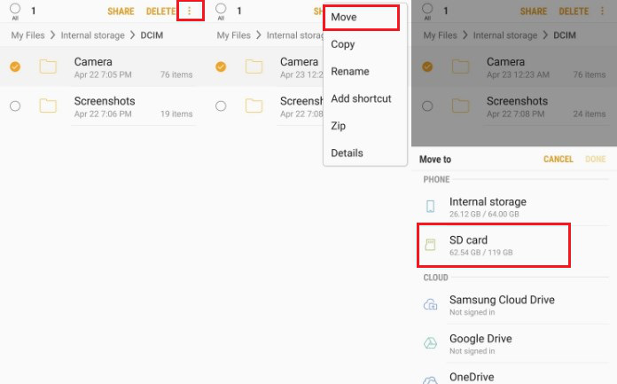 Move Files to SD Card within Samsung Phone