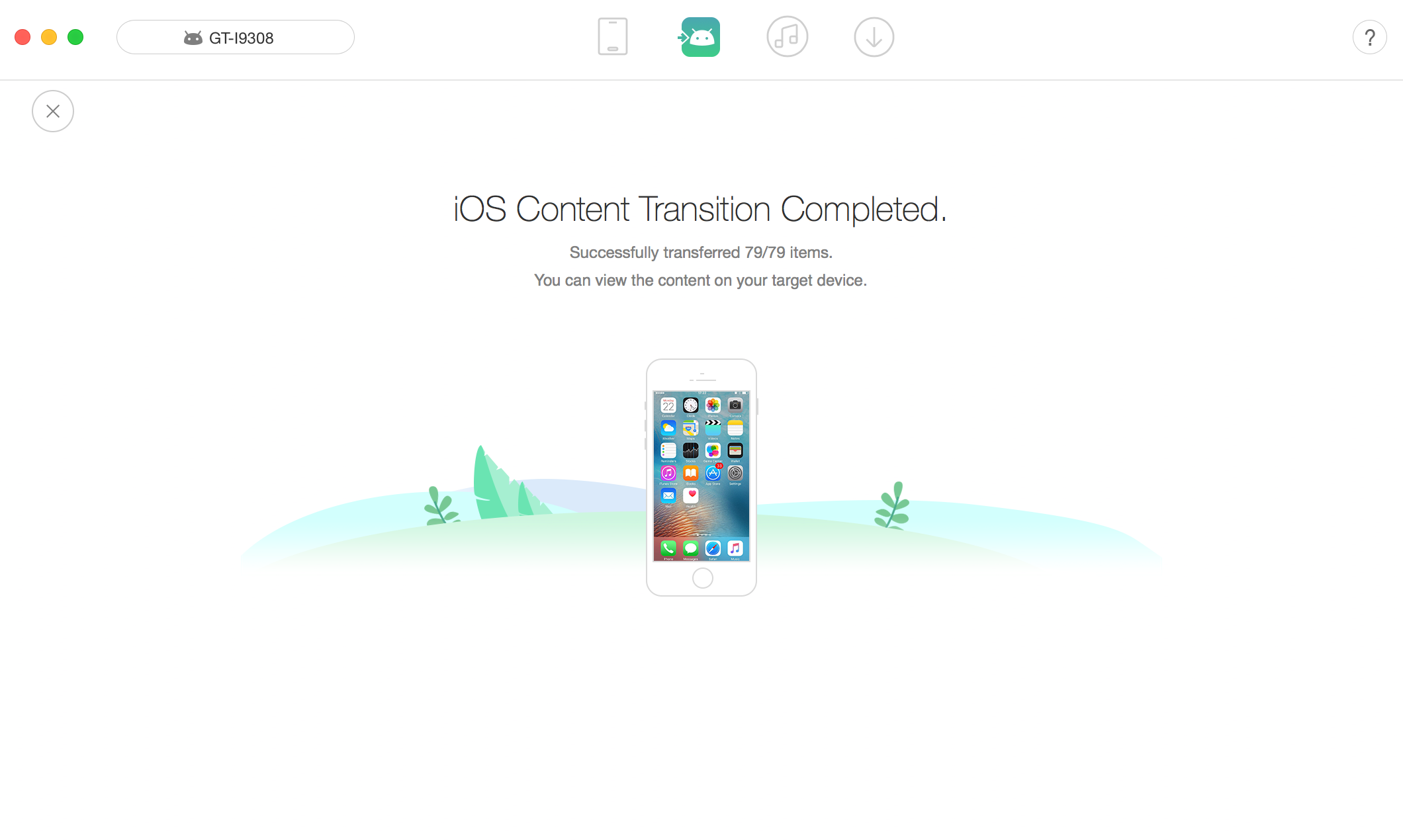 iOS data successfully transferred to Samsung