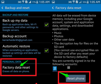 Backup your data and Reset your Phone