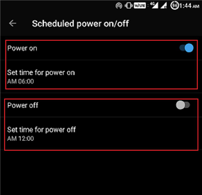 Scheduled Powering ON or OFF